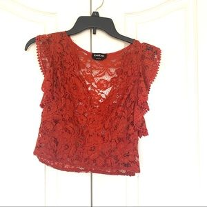 Bebe Lace Burnt Orange Crop Top